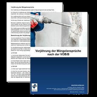 Kostenloser Fachartikel über die Verjährung der Mängelansprüche nach der aktuellen VOB/B