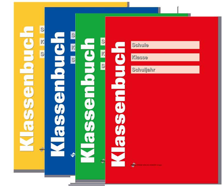 Klassenbuch rot, grün, blau, gelb