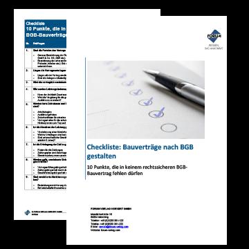 Checkliste Vertragsgestaltung Bauverträge nach BGB