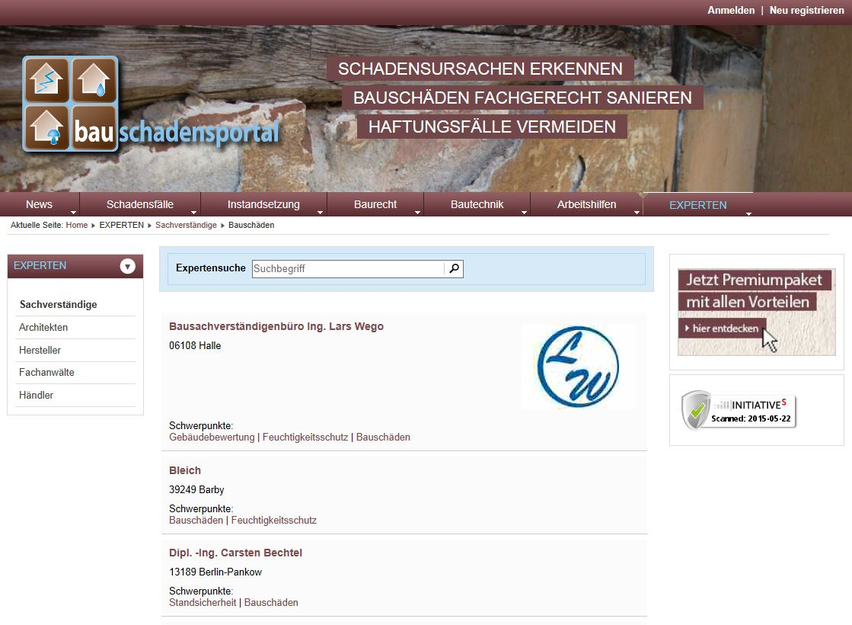 Expertendatenbank unter Bauschadensportal.de