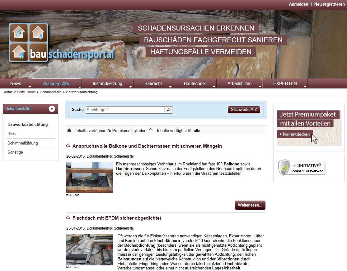 Schadensfälle unter Bauschadensportal.de