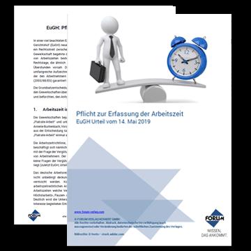 Pflicht zur Erfassung der Arbeitszeit - EuGH Urteil vom 14. Mai 2019