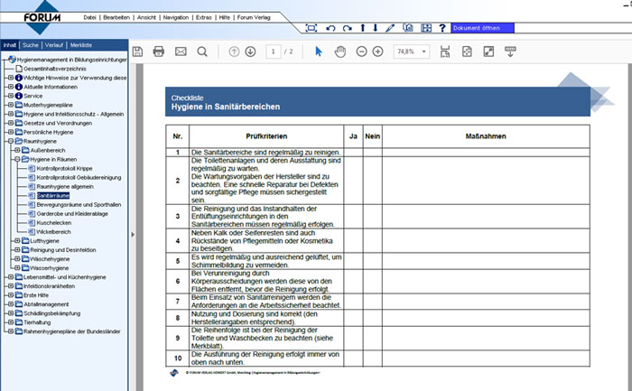 Vorlagen, Unterweisungen und Checklisten