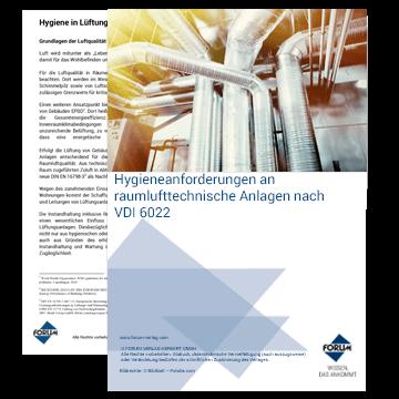 Hygieneanforderungen an raumlufttechnische Anlagen nach VDI 6022