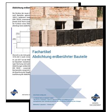 Bauwerksabdichtungen: Abdichtung erdberührter Bauteile (Alt DIN 18195, Neu DIN 18533)