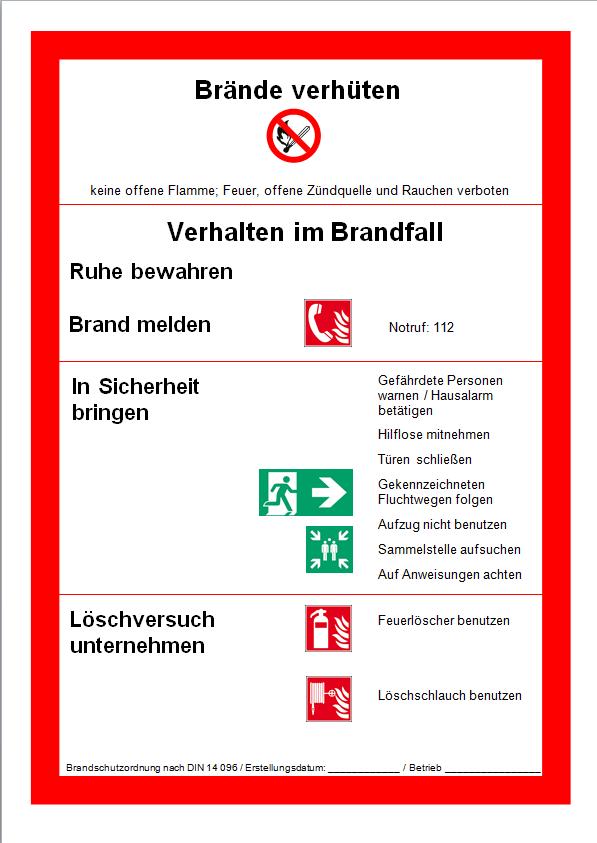 Muster einer Brandschutzordnung nach DIN 14096, Teil A