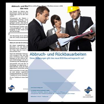 Abbruch- & Rückbauarbeiten gem. neuem Bauvertragsrecht