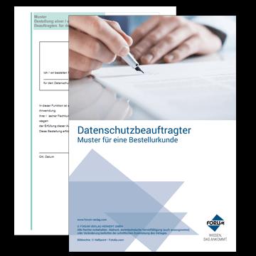 Vorlage: Bestellung einer/eines Beauftragten für den Datenschutz