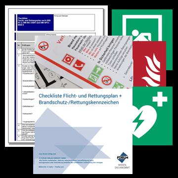 Flucht- und Rettungspläne Vorlagen Brandschutz- und Rettungszeichen + Kostenlose Checkliste nach ASR A1.3