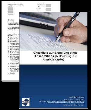 Checkliste zur Erstellung eines Anschreibens (Aufforderung zur Angebotsabgabe)