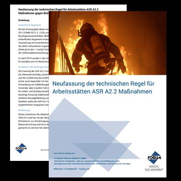 Neufassung der technischen Regel für Arbeitsstätten ASR A2.2 Maßnahmen