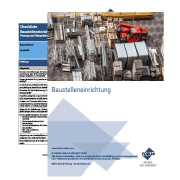 """Checkliste """"Baustelleneinrichtung"""""""