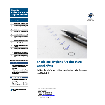 Checkliste Hygiene Arbeitsschutzvorschriften