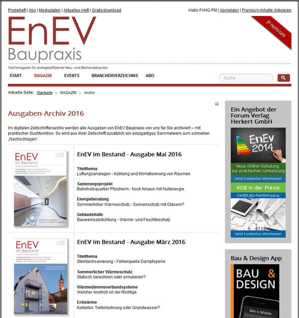 Screenshot-EnEV Baupraxis Archiv