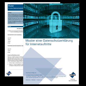 Muster einer Datenschutzerklärung für Internetauftritte