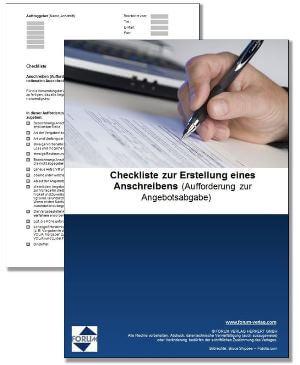 Gratis-Download: Checkliste zur Erstellung eines Anschreibens (Aufforderung zur Angebotsabgabe)