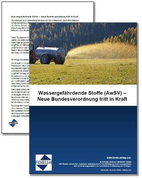 Gratis Fachartikel über die neue Bundesverordnung zu wassergefährdenden Stoffen (AwSV)
